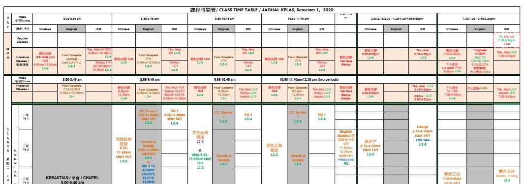 課程時間表/ CLASS TIME TABLE / JADUAL KELAS, Semester 1, 2020